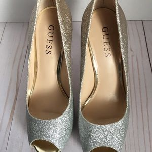 Guess Shoes - Guess Gold & Silver glitter heels Size 6